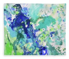 Abstract In Blue And Green Fleece Blanket