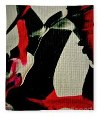 Abstract In Red And Black Fleece Blanket