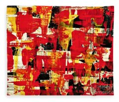 Abstract In Red, White And Yellow  Fleece Blanket