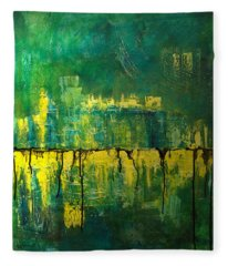 Fleece Blanket featuring the painting Abstract In Yellow And Green by Jocelyn Friis