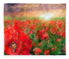 Fleece Blanket featuring the mixed media Abstract Landscape Of Red Poppies by Rafael Salazar