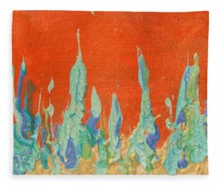 Abstract Mirage Cityscape In Orange Fleece Blanket