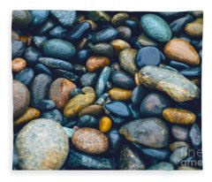 Abstract Nature Tropical Beach Pebbles 923 Blue Fleece Blanket