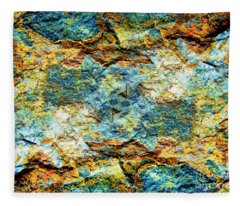 Abstract Nature Tropical Beach Rock Blue Yellow And Orange Macro Photo 472 Fleece Blanket
