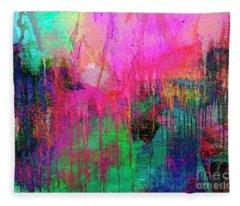 Abstract Painting 621 Pink Green Orange Blue Fleece Blanket
