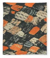 Abstract Pattern Black And Orange Fleece Blanket