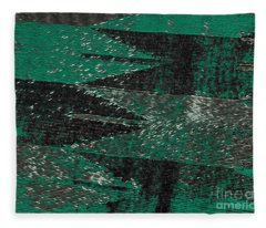 Abstract Pattern No.11 Green And Black Fleece Blanket
