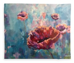 Abstract Poppy Fleece Blanket