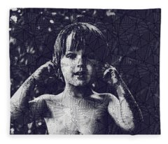 Abstract Portrait Of A Young Boy Fleece Blanket