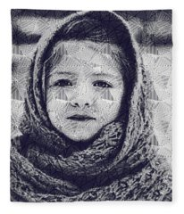 Abstract Portrait Of A Young Lady Fleece Blanket