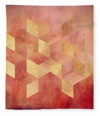 Abstract Red And Gold Geometric Cubes Fleece Blanket