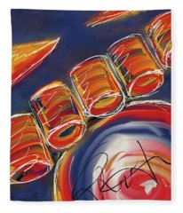 Abstract Red Drums Fleece Blanket