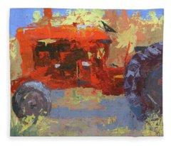 Abstract Red Tractor Fleece Blanket