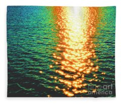 Abstract Reflections Digital Painting #5 - Delaware River Series Fleece Blanket
