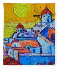 Abstract Santorini Sunset Oia Windmills  Fleece Blanket