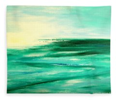 Abstract Sunset In Blue And Green Fleece Blanket