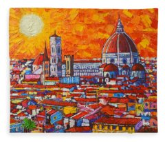 Abstract Sunset Over Duomo In Florence Italy Fleece Blanket