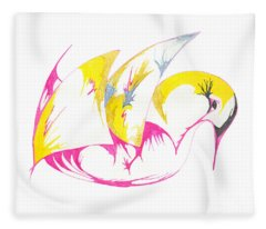 Abstract Swan Fleece Blanket
