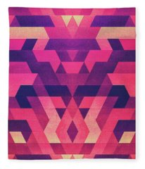 Abstract Symertric Geometric Triangle Texture Pattern Design In Diabolic Magnet Future Red Fleece Blanket