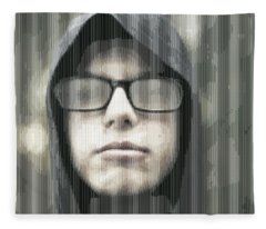 Abstract Vertical Line Portrait Of A Youth 3 Fleece Blanket