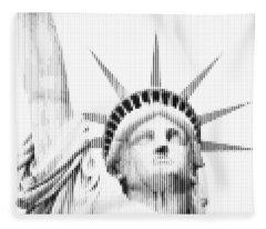 Abstract Vertical Line Statue Of Liberty Fleece Blanket