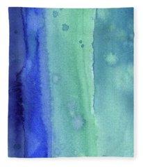 Abstract Vertical Watercolor Aqua Stripes Fleece Blanket