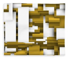 Abstract White And Gold. Fleece Blanket
