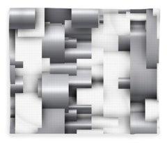 Abstract White And Grey Fleece Blanket