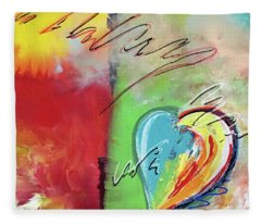 Abstract With Heart Fleece Blanket