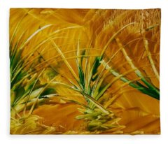 Abstract Yellow, Green Fields   Fleece Blanket