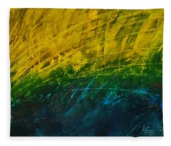 Abstract Yellow, Green With Dark Blue.   Fleece Blanket