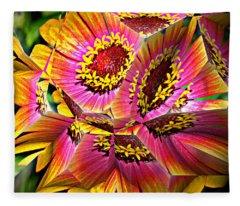 Abstract Yellow Flame Zinnia Fleece Blanket