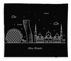 Abu Dhabi Skyline Travel Poster Fleece Blanket