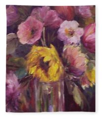 Abundance- Floral Painting Fleece Blanket