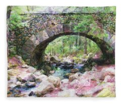 Acadia National Park - Cobblestone Bridge Abstract Fleece Blanket