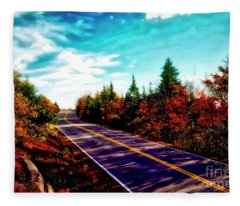 Acadia Natl Park Cadillac Mountian Road Fall Maine  Fleece Blanket