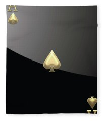 Ace Of Spades In Gold On Black   Fleece Blanket