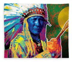 Aceca Indian Chief Fleece Blanket