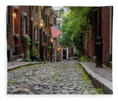 Acorn St. Boston Ma. Fleece Blanket