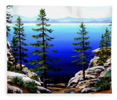 Across Lake Tahoe Fleece Blanket