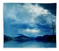 Across The Clouds I See My Shadow Fly  Fleece Blanket