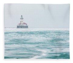 Across The Frozen Lake Fleece Blanket