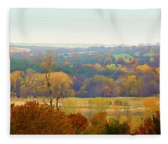 Across The River In Autumn Fleece Blanket