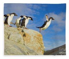 Adelie Penguins Jumping Fleece Blanket