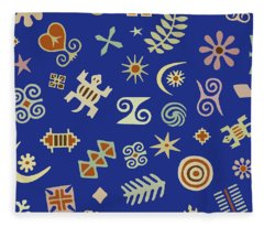 Adinkra Navy Folk Art Fleece Blanket