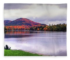 Adirondack Chairs In The Adirondacks. Mirror Lake Lake Placid Ny New York Mountain Fleece Blanket