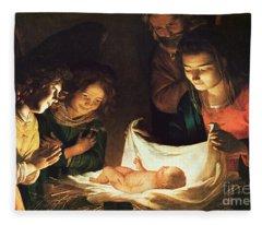 Adoration Of The Baby Fleece Blanket