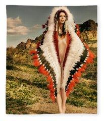 Adorned Feathered Nude Fleece Blanket
