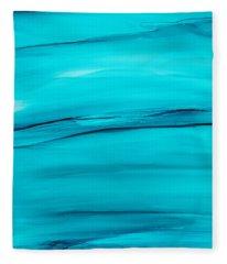 Adrift In A Sea Of Blues Abstract Fleece Blanket