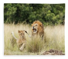 Adult Lion And Cub In The Masai Mara Fleece Blanket